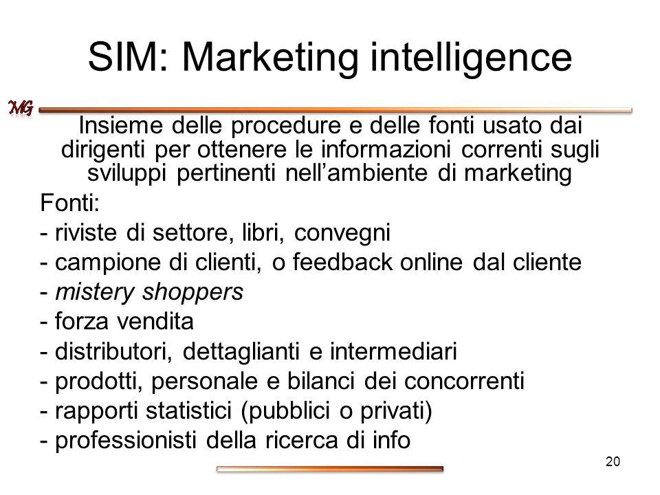 SIM: Marketing intelligence Insieme delle procedure e delle fonti usato dai dirigenti per ottenere le informazioni correnti sugli sviluppi pertinenti