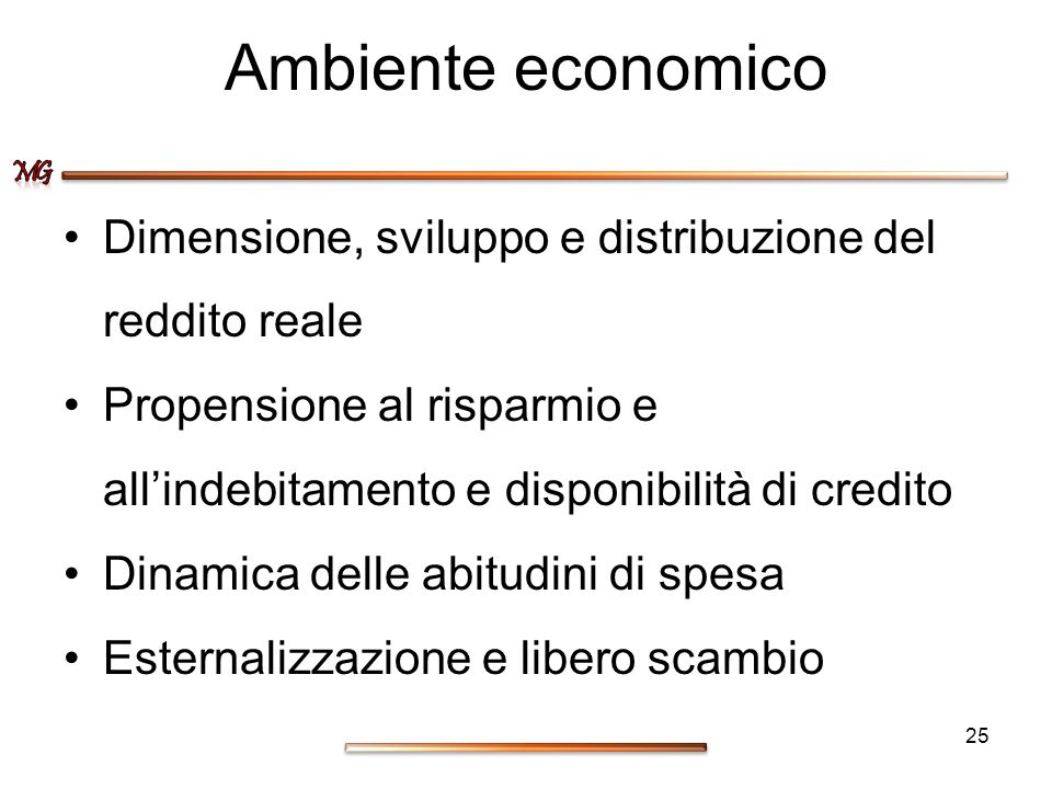 Ambiente economico Dimensione, sviluppo e distribuzione del reddito reale Propensione al risparmio e allindebitamento e disponibilità di credito Dinam