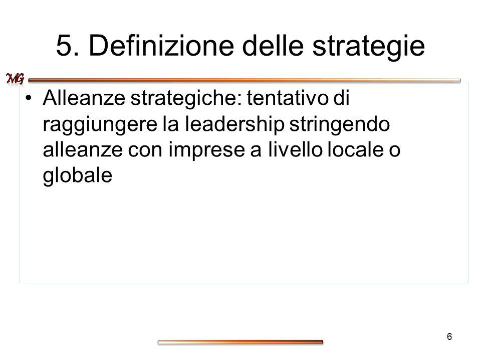 5. Definizione delle strategie Alleanze strategiche: tentativo di raggiungere la leadership stringendo alleanze con imprese a livello locale o globale