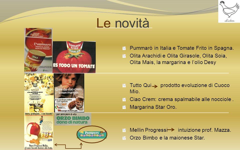 Le novità Pummarò in Italia e Tomate Frito in Spagna. Olita Arachidi e Olita Girasole, Olita Soia, Olita Mais, la margarina e lolio Desy Tutto Qui pro