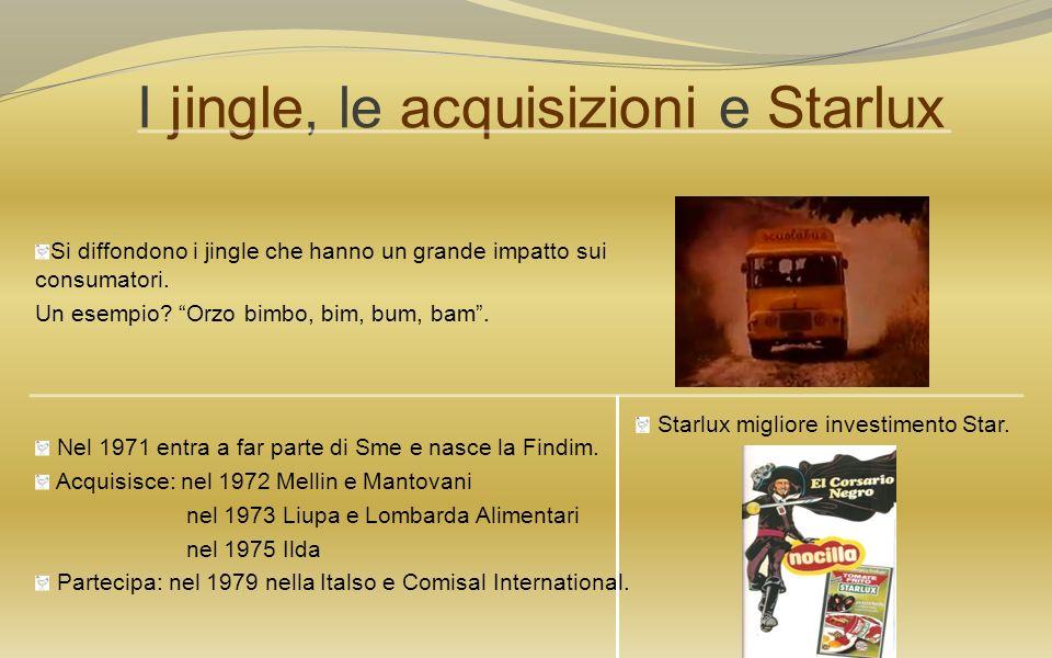 I jingle, le acquisizioni e Starlux Si diffondono i jingle che hanno un grande impatto sui consumatori. Un esempio? Orzo bimbo, bim, bum, bam. Nel 197