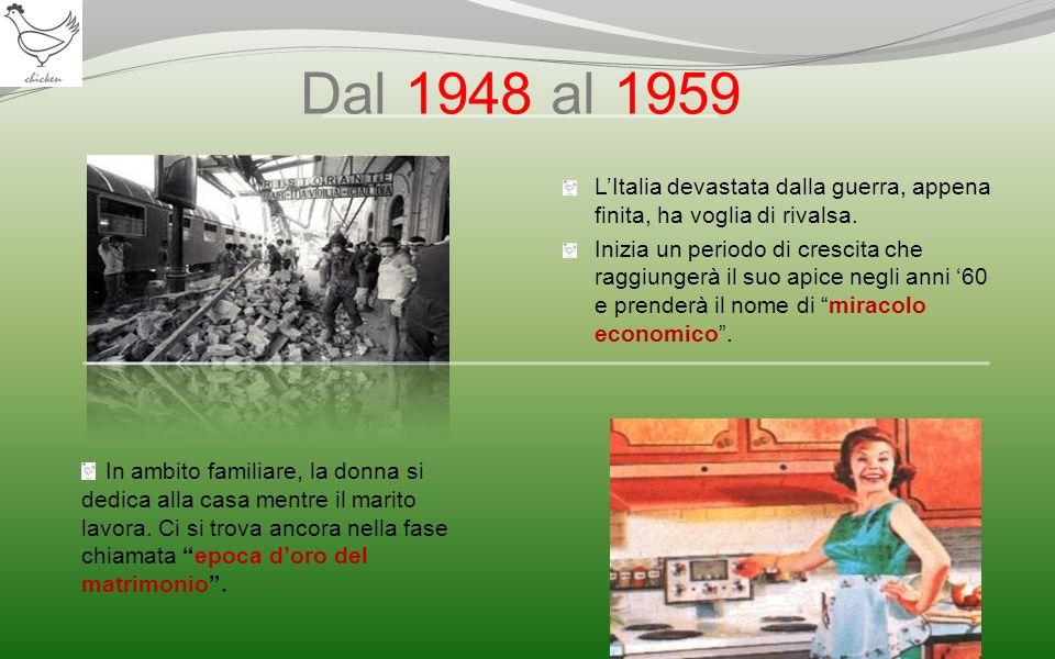 Dal 1948 al 1959 In ambito familiare, la donna si dedica alla casa mentre il marito lavora. Ci si trova ancora nella fase chiamata epoca doro del matr