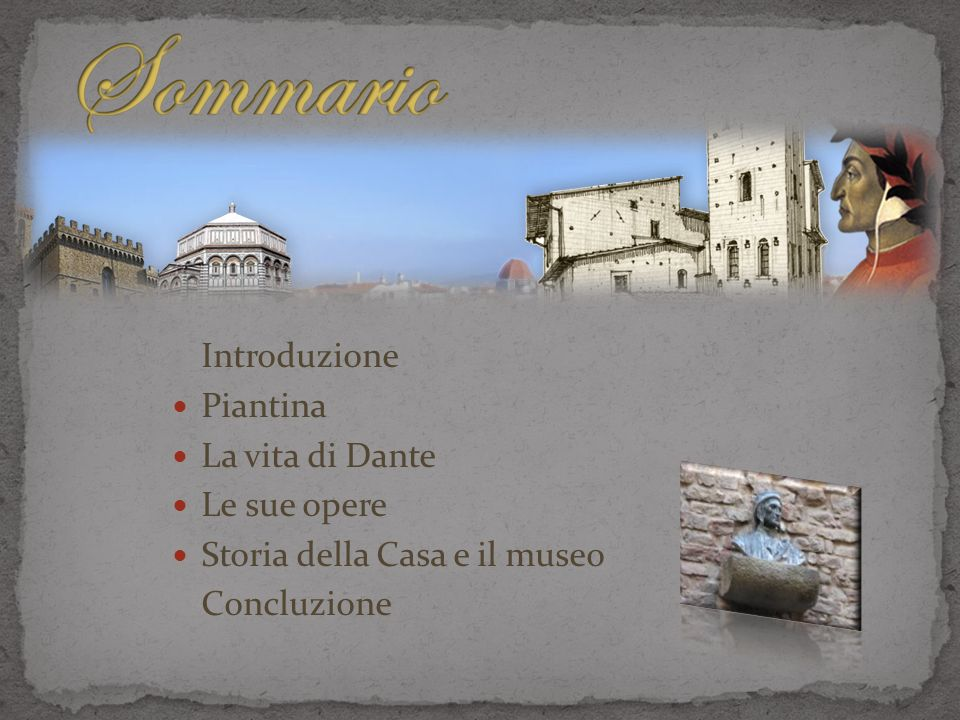 Introduzione Piantina La vita di Dante Le sue opere Storia della Casa e il museo Concluzione