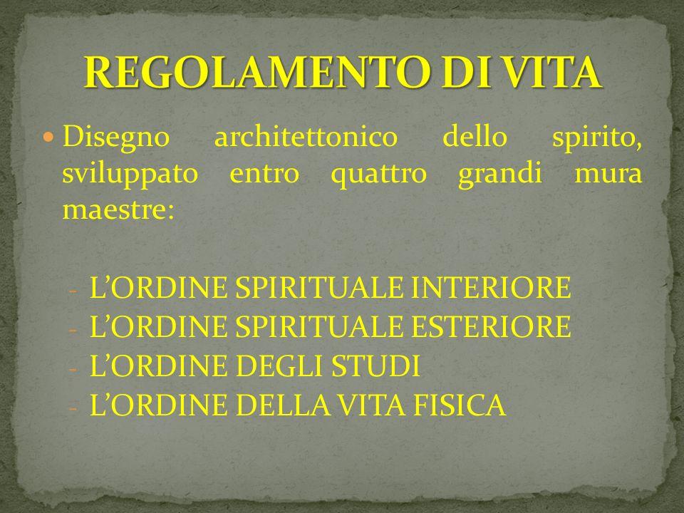 Disegno architettonico dello spirito, sviluppato entro quattro grandi mura maestre: - LORDINE SPIRITUALE INTERIORE - LORDINE SPIRITUALE ESTERIORE - LO