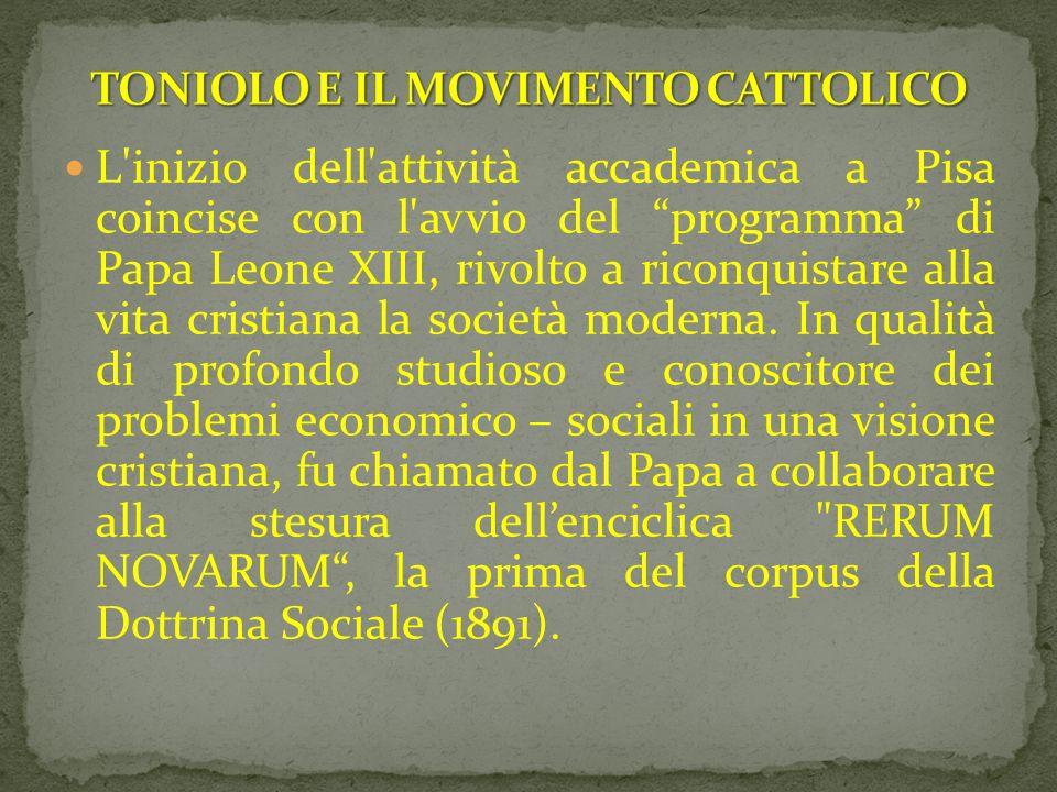 L'inizio dell'attività accademica a Pisa coincise con l'avvio del programma di Papa Leone XIII, rivolto a riconquistare alla vita cristiana la società