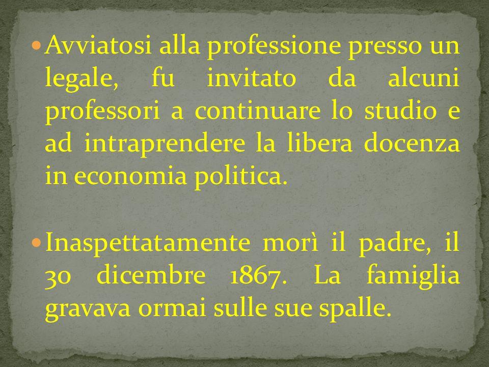 Avviatosi alla professione presso un legale, fu invitato da alcuni professori a continuare lo studio e ad intraprendere la libera docenza in economia