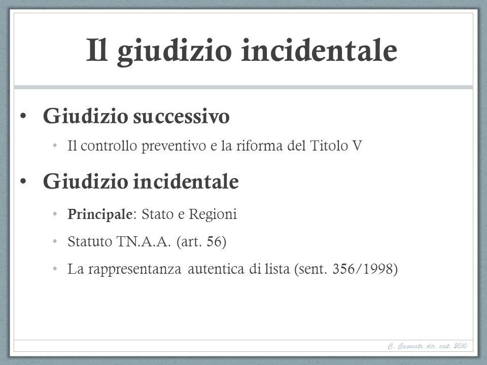 Il giudizio incidentale Giudizio successivo Il controllo preventivo e la riforma del Titolo V Giudizio incidentale Principale : Stato e Regioni Statut