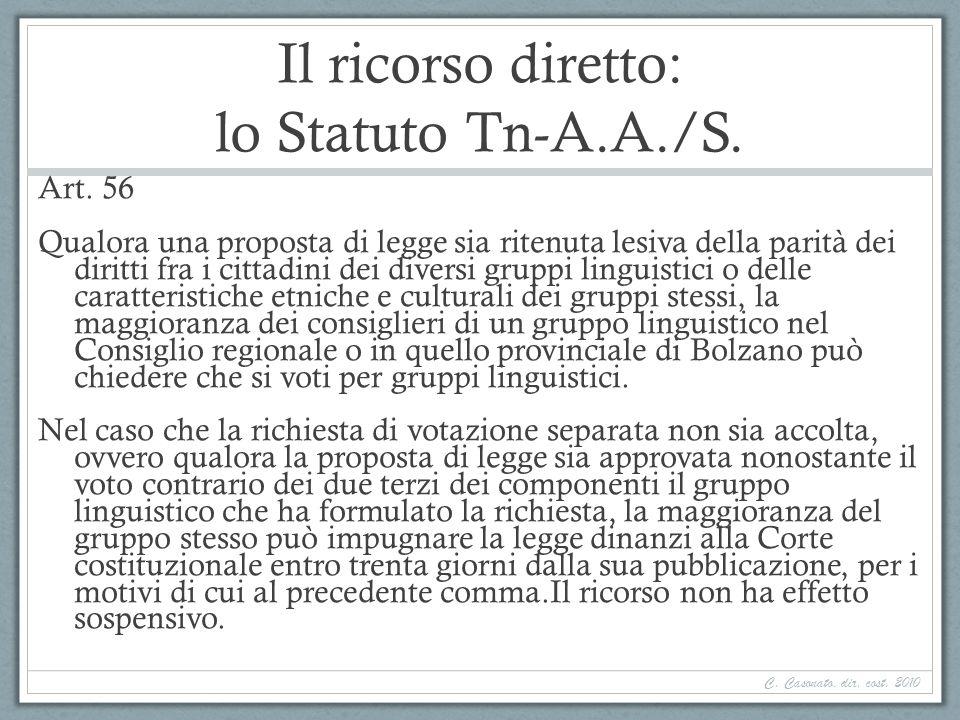 Il ricorso diretto: lo Statuto Tn-A.A./S. Art. 56 Qualora una proposta di legge sia ritenuta lesiva della parità dei diritti fra i cittadini dei diver