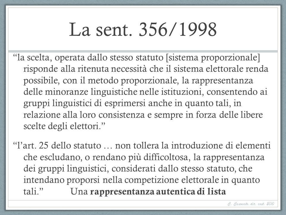 La sent. 356/1998 la scelta, operata dallo stesso statuto [sistema proporzionale] risponde alla ritenuta necessità che il sistema elettorale renda pos