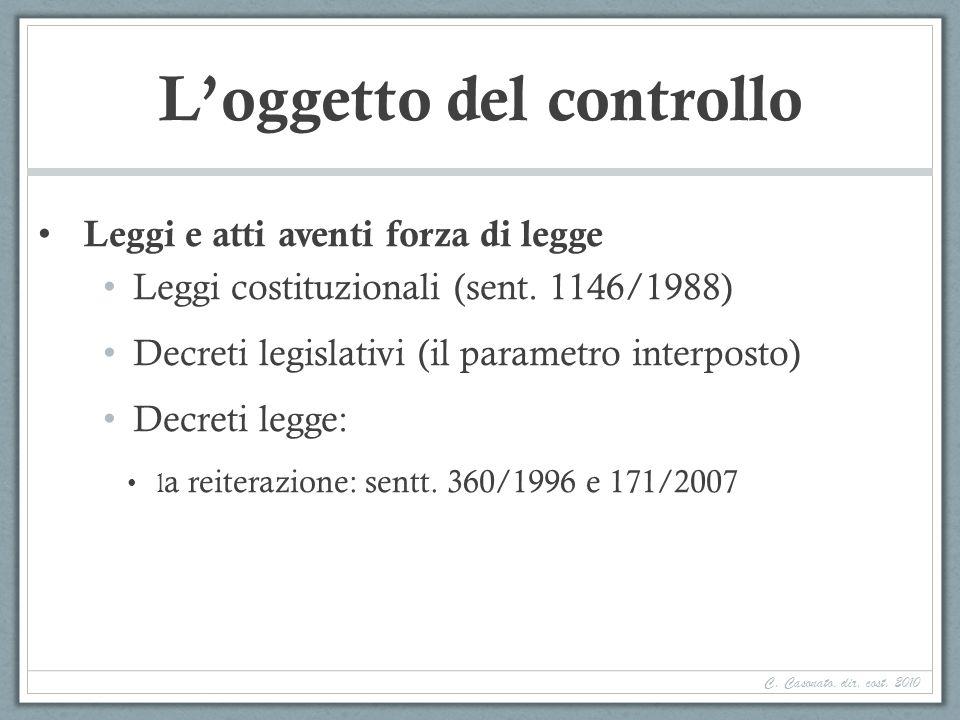 Loggetto del controllo Leggi e atti aventi forza di legge Leggi costituzionali (sent. 1146/1988) Decreti legislativi (il parametro interposto) Decreti