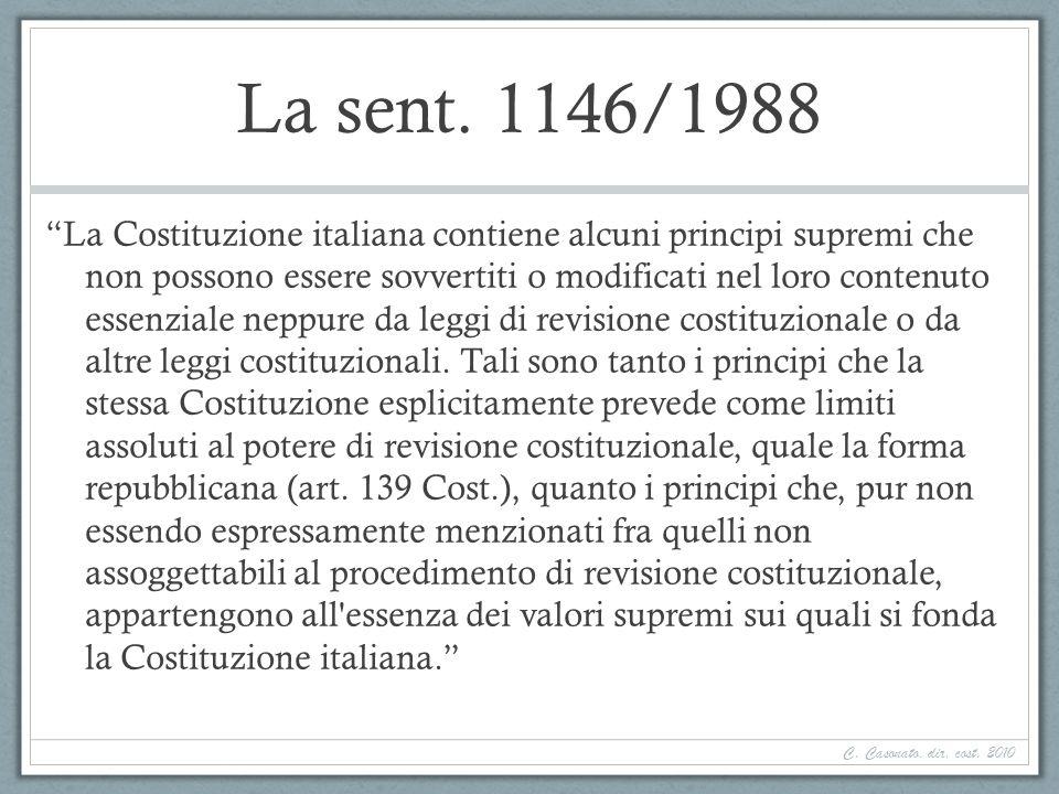 La sent. 1146/1988 La Costituzione italiana contiene alcuni principi supremi che non possono essere sovvertiti o modificati nel loro contenuto essenzi