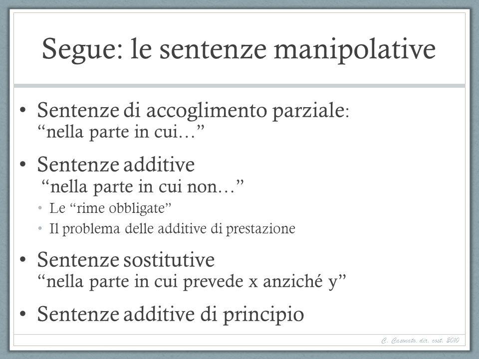 Segue: le sentenze manipolative Sentenze di accoglimento parziale : nella parte in cui… Sentenze additive nella parte in cui non… Le rime obbligate Il