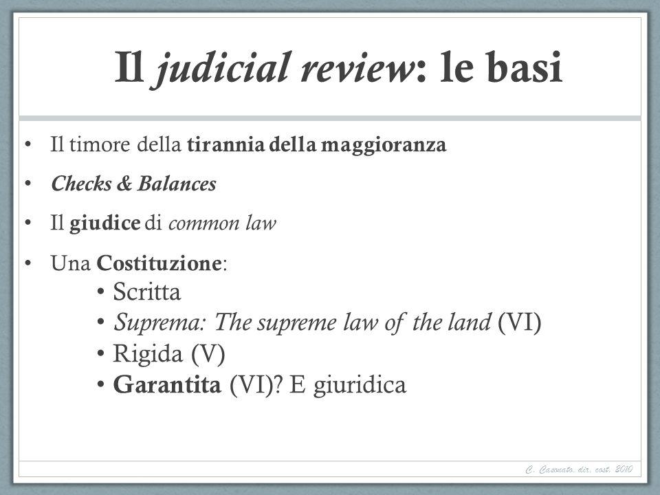 Il judicial review : le basi Il timore della tirannia della maggioranza Checks & Balances Il giudice di common law Una Costituzione : Scritta Suprema: