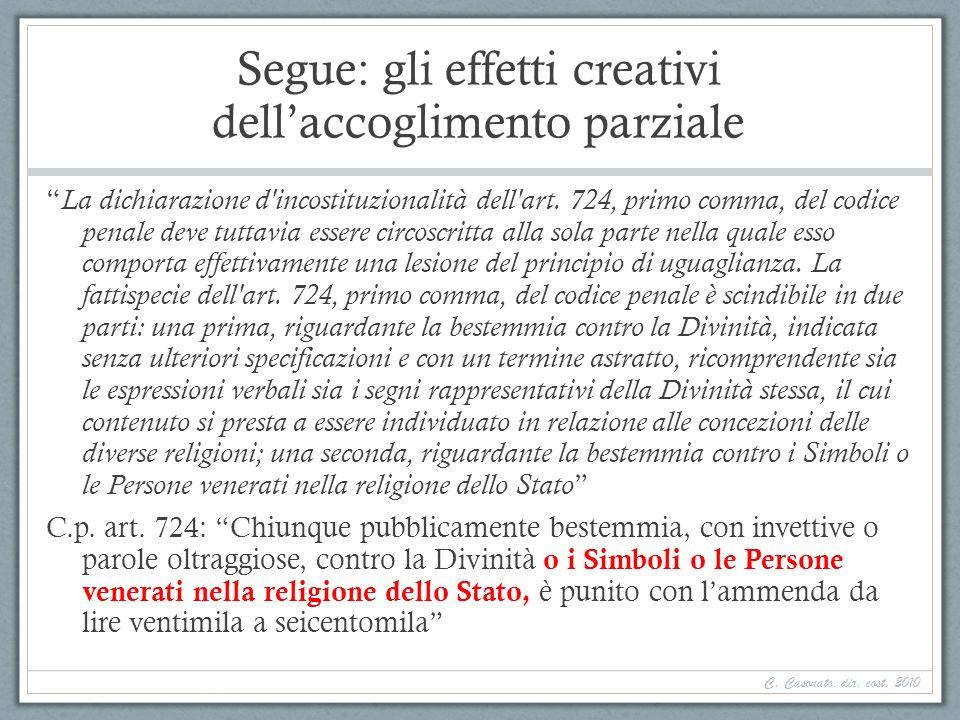 Segue: gli effetti creativi dellaccoglimento parziale La dichiarazione d'incostituzionalità dell'art. 724, primo comma, del codice penale deve tuttavi