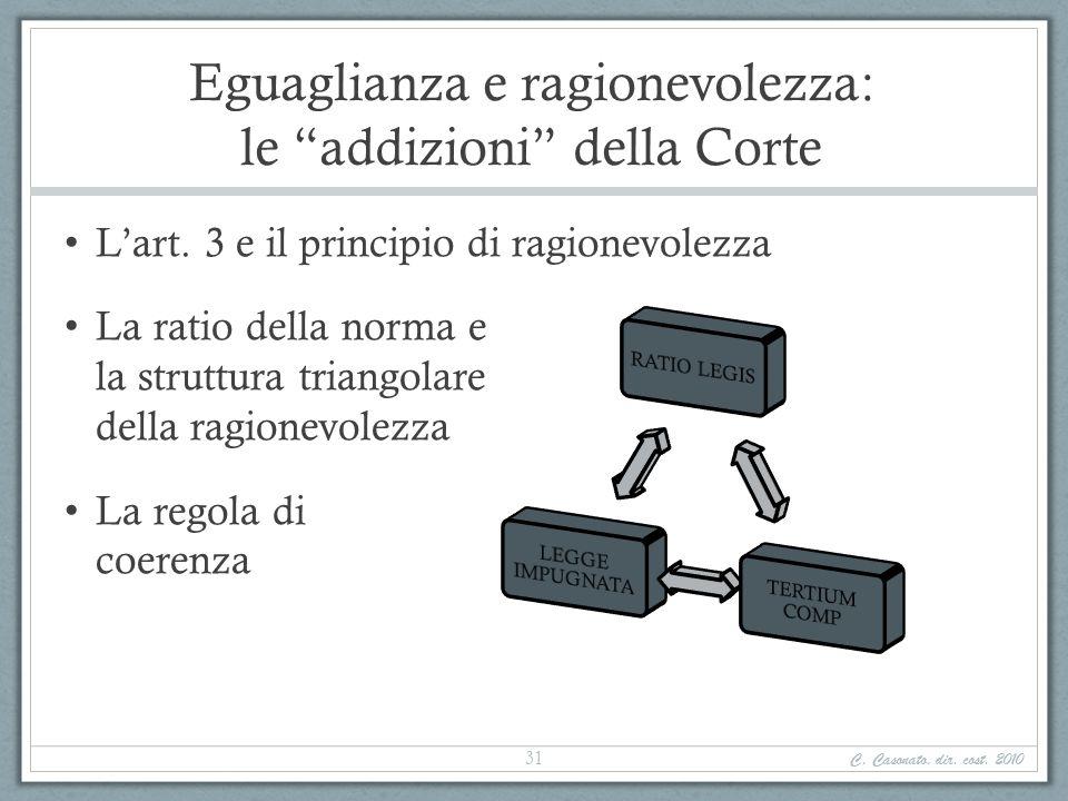Eguaglianza e ragionevolezza: le addizioni della Corte Lart. 3 e il principio di ragionevolezza La ratio della norma e la struttura triangolare della
