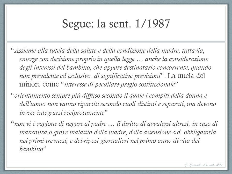 Segue: la sent. 1/1987 Assieme alla tutela della salute e della condizione della madre, tuttavia, emerge con decisione proprio in quella legge … anche