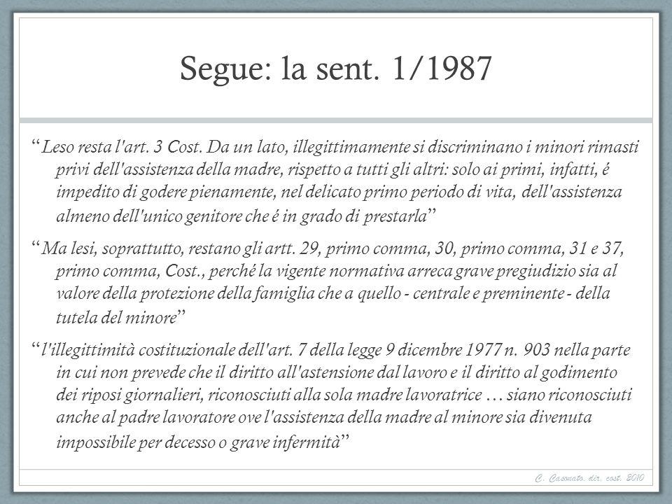 Segue: la sent. 1/1987 Leso resta l'art. 3 Cost. Da un lato, illegittimamente si discriminano i minori rimasti privi dell'assistenza della madre, risp