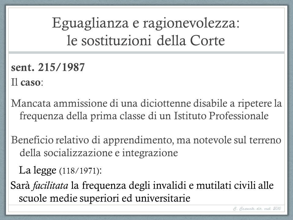 Eguaglianza e ragionevolezza: le sostituzioni della Corte sent. 215/1987 Il caso : Mancata ammissione di una diciottenne disabile a ripetere la freque