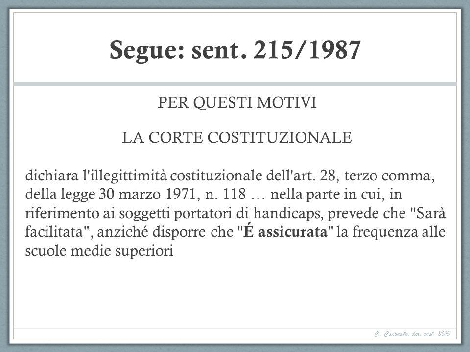 Segue: sent. 215/1987 PER QUESTI MOTIVI LA CORTE COSTITUZIONALE dichiara l'illegittimità costituzionale dell'art. 28, terzo comma, della legge 30 marz