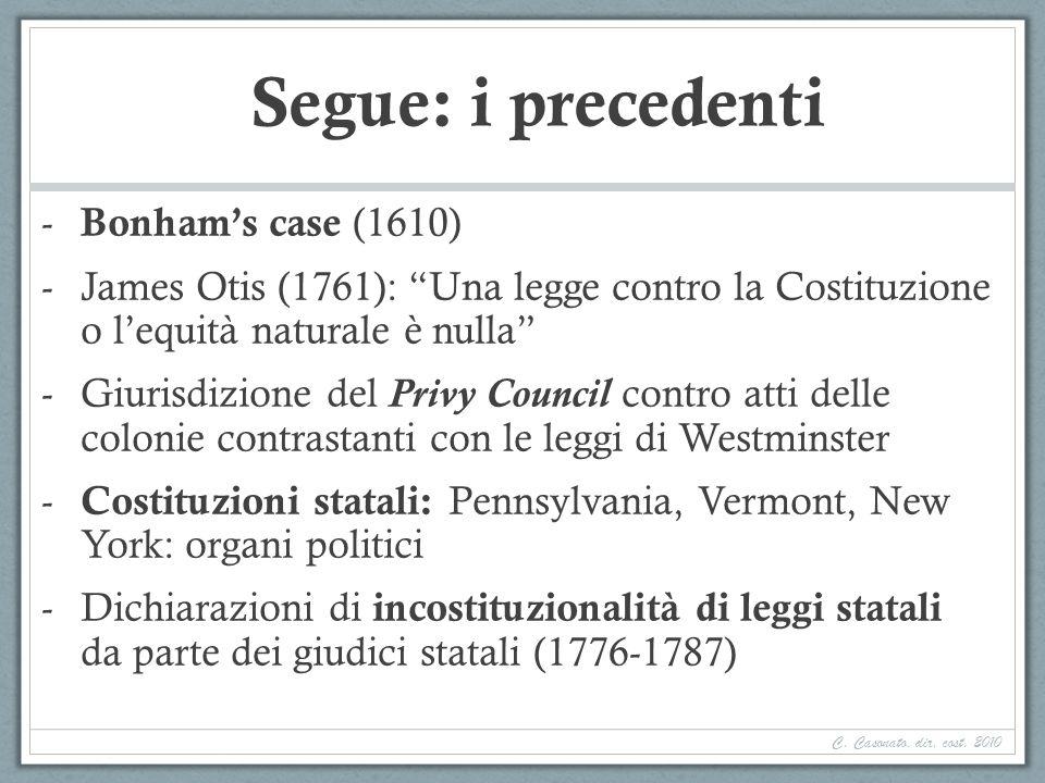 Segue: i precedenti - Bonhams case (1610) -James Otis (1761): Una legge contro la Costituzione o lequità naturale è nulla -Giurisdizione del Privy Cou