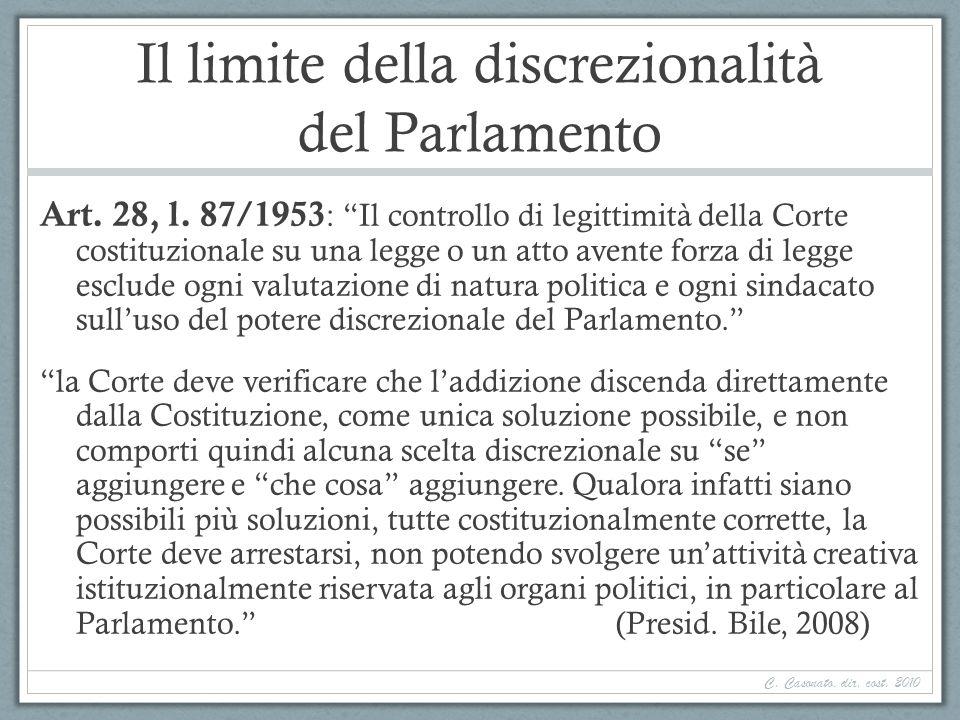 Il limite della discrezionalità del Parlamento Art. 28, l. 87/1953 : Il controllo di legittimità della Corte costituzionale su una legge o un atto ave