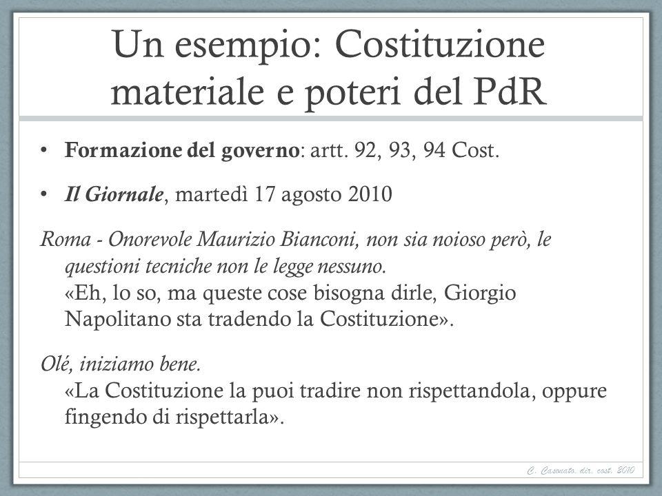 Un esempio: Costituzione materiale e poteri del PdR Formazione del governo : artt. 92, 93, 94 Cost. Il Giornale, martedì 17 agosto 2010 Roma - Onorevo