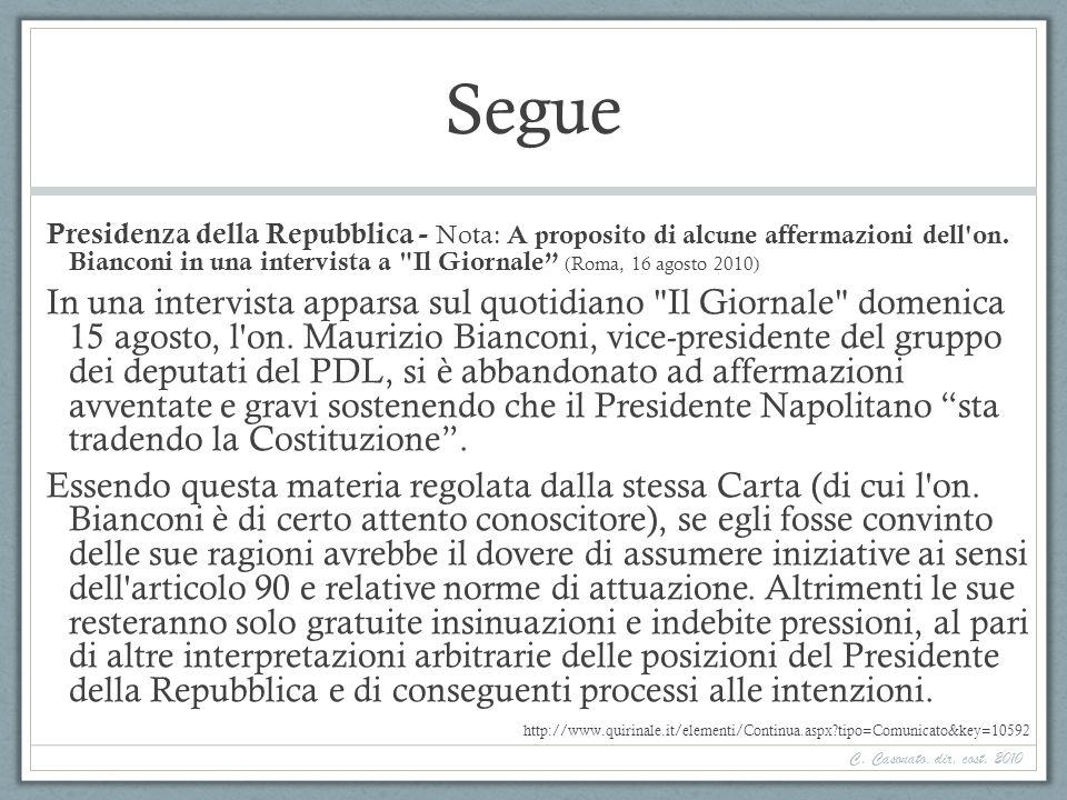 Segue Presidenza della Repubblica - Nota: A proposito di alcune affermazioni dell'on. Bianconi in una intervista a