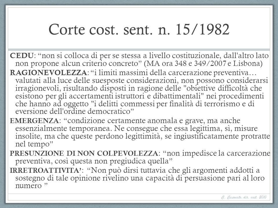 Corte cost. sent. n. 15/1982 CEDU : non si colloca di per se stessa a livello costituzionale, dall'altro lato non propone alcun criterio concreto (MA