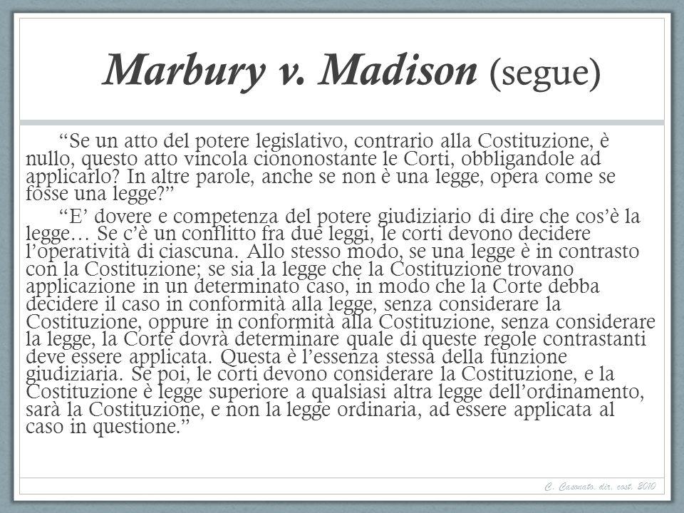 Marbury v. Madison (segue) Se un atto del potere legislativo, contrario alla Costituzione, è nullo, questo atto vincola ciononostante le Corti, obblig