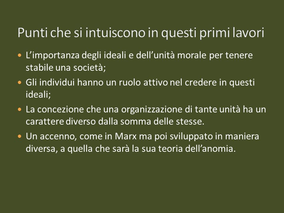 A differenza di Marx, Durkheim non pensa alla religione come ad una sovrastruttura con funzionalità solo «ideologiche», ma la considera come un mezzo di integrazione sociale: chi crede in una divinità celebra in essa lappartenenza alla sua comunità.