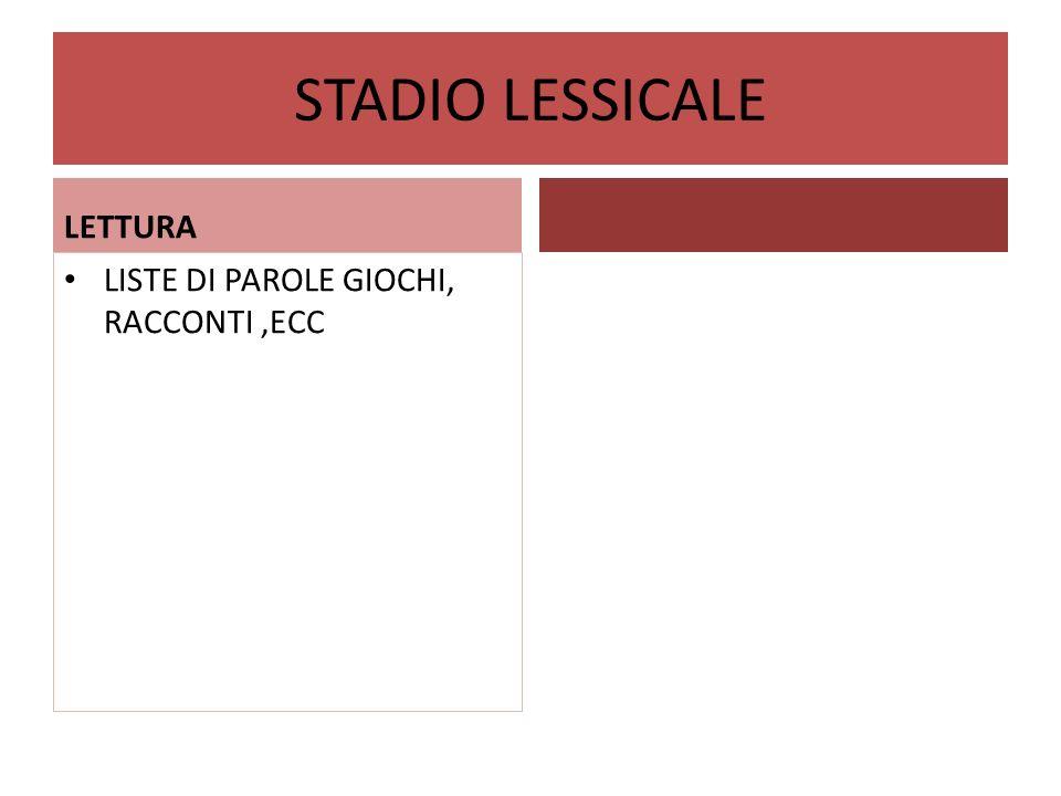 STADIO LESSICALE LETTURA LISTE DI PAROLE GIOCHI, RACCONTI,ECC