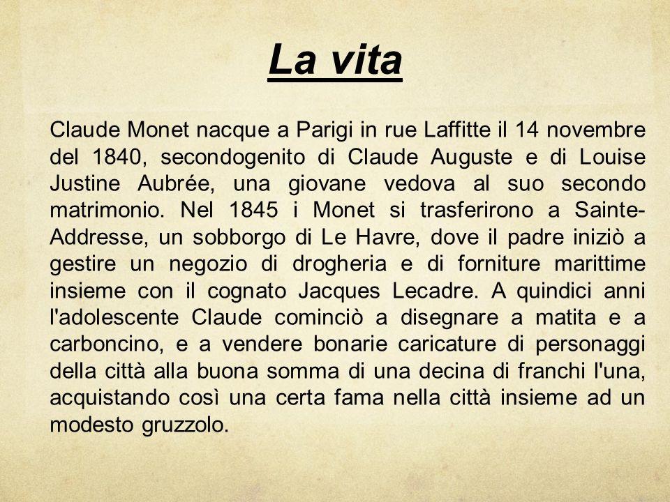 La vita Claude Monet nacque a Parigi in rue Laffitte il 14 novembre del 1840, secondogenito di Claude Auguste e di Louise Justine Aubrée, una giovane