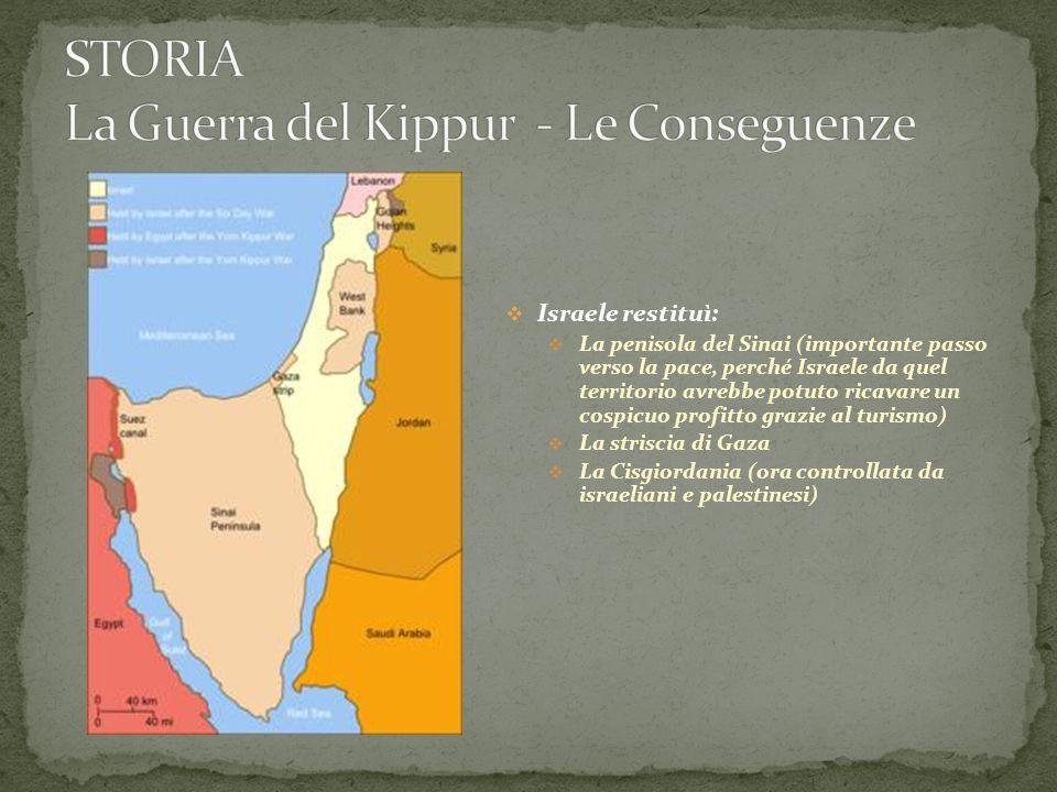 Israele restituì: La penisola del Sinai (importante passo verso la pace, perché Israele da quel territorio avrebbe potuto ricavare un cospicuo profitt