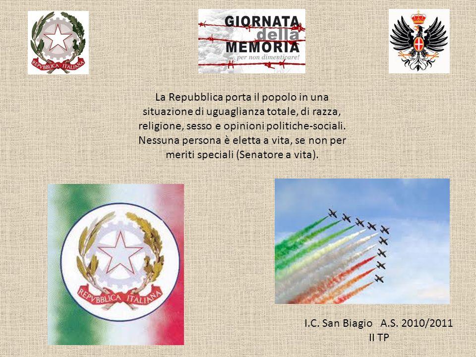 I.C. San Biagio A.S. 2010/2011 II TP La Repubblica porta il popolo in una situazione di uguaglianza totale, di razza, religione, sesso e opinioni poli