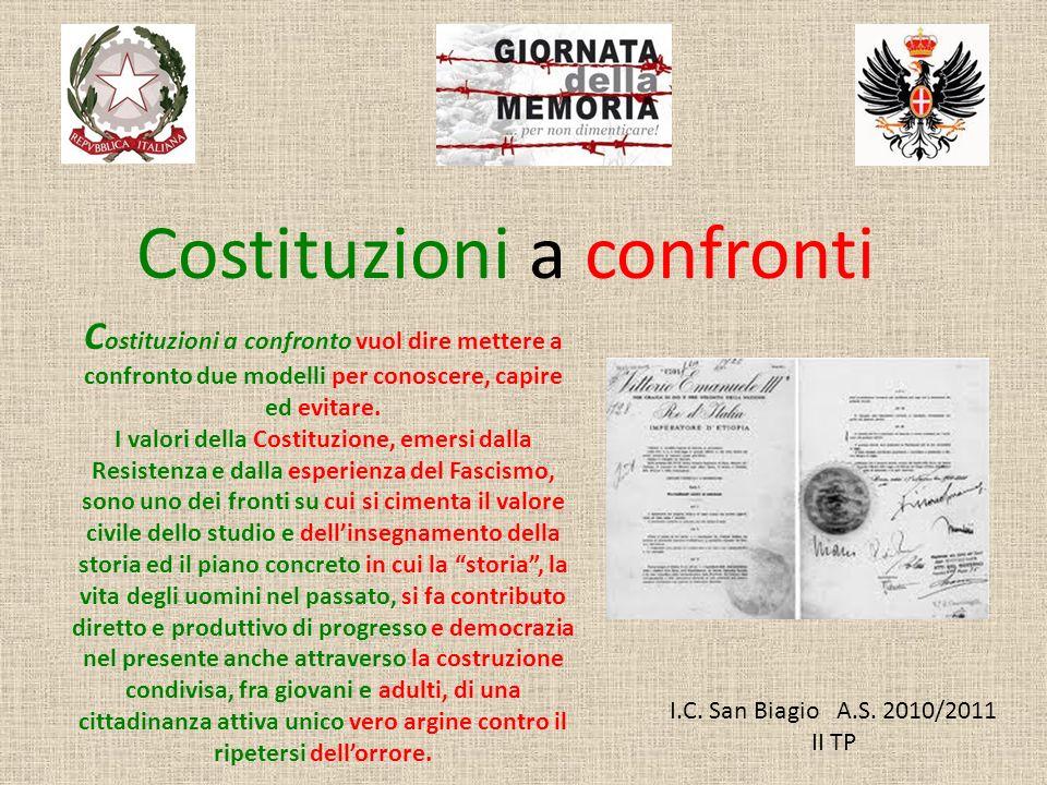 I.C. San Biagio A.S. 2010/2011 II TP Costituzioni a confronti C ostituzioni a confronto vuol dire mettere a confronto due modelli per conoscere, capir