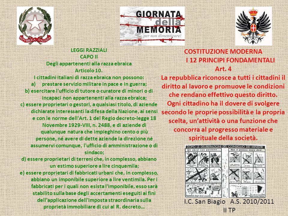I.C. San Biagio A.S. 2010/2011 II TP LEGGI RAZZIALI CAPO II Degli appartenenti alla razza ebraica Articolo 10. I cittadini italiani di razza ebraica n