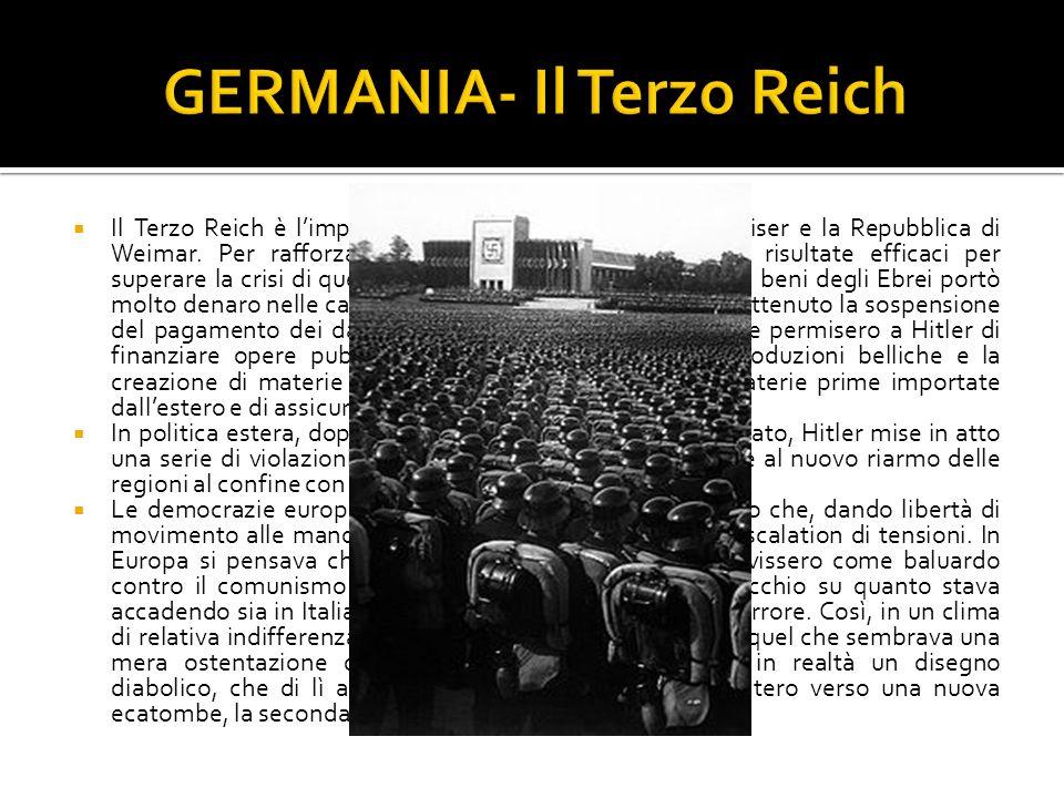 Il Terzo Reich è limpero che viene dopo limpero del Keiser e la Repubblica di Weimar. Per rafforzare limpero, alcune misure erano risultate efficaci p