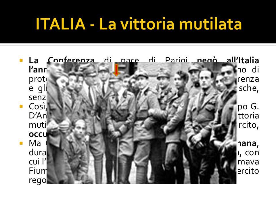 La Conferenza di pace di Parigi negò allItalia lannessione della Dalmazia e di Fiume. In segno di protesta, la delegazione italiana abbandonò la Confe