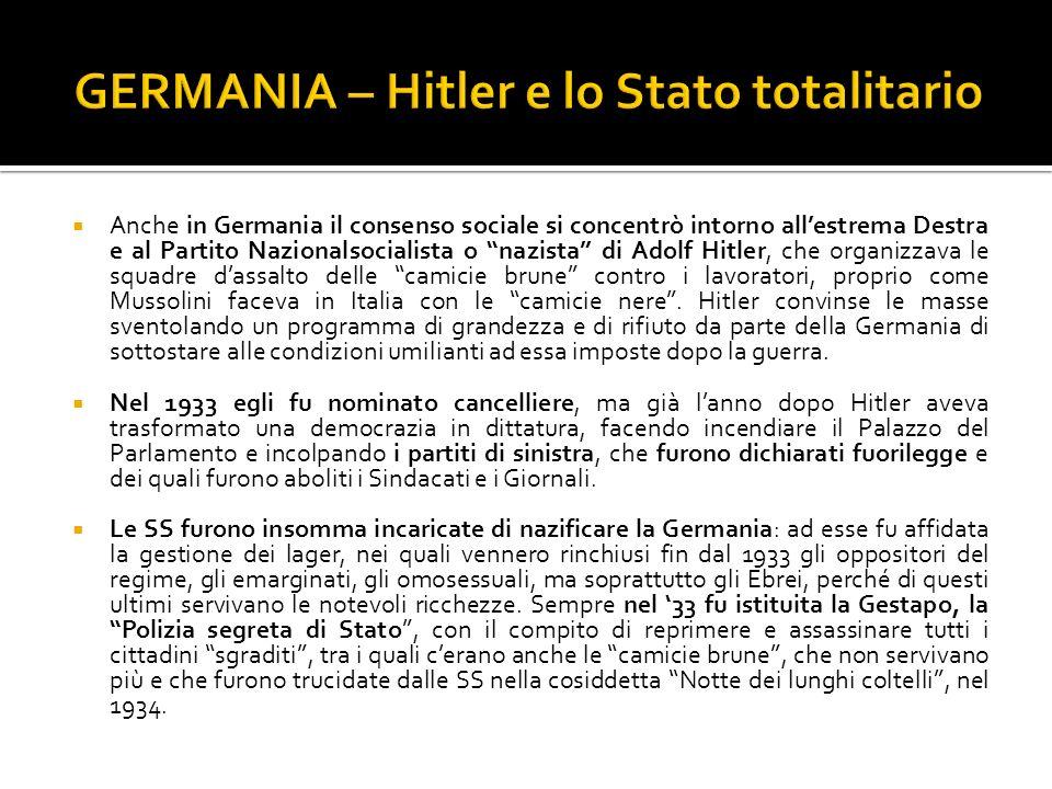 Anche in Germania il consenso sociale si concentrò intorno allestrema Destra e al Partito Nazionalsocialista o nazista di Adolf Hitler, che organizzav