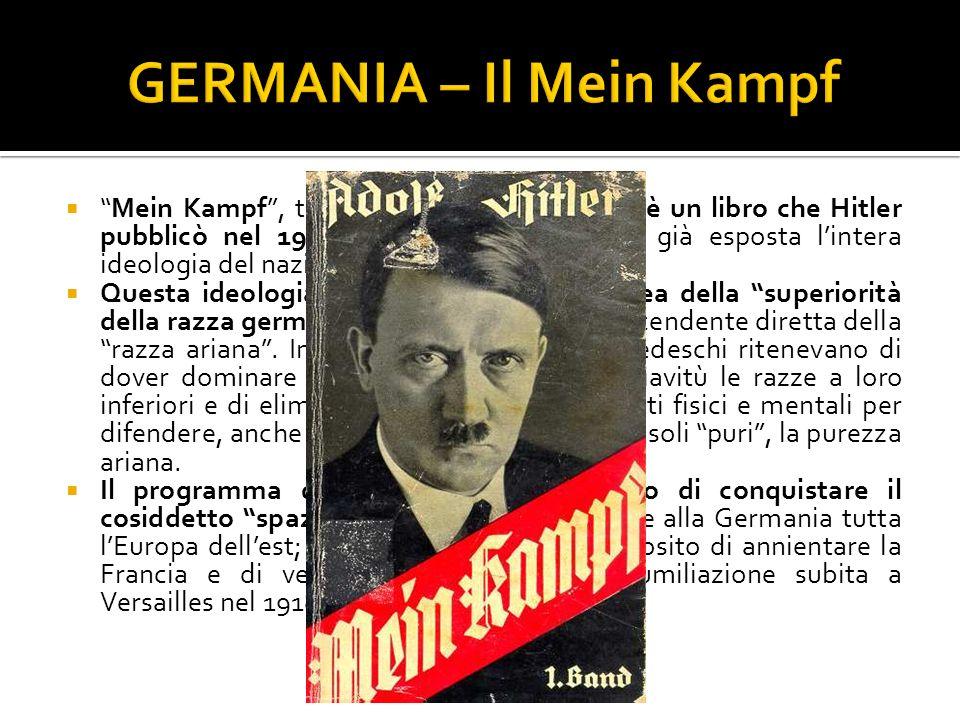Mein Kampf, tradotto La mia battaglia, è un libro che Hitler pubblicò nel 1925 e nel quale egli aveva già esposta lintera ideologia del nazionalsocial
