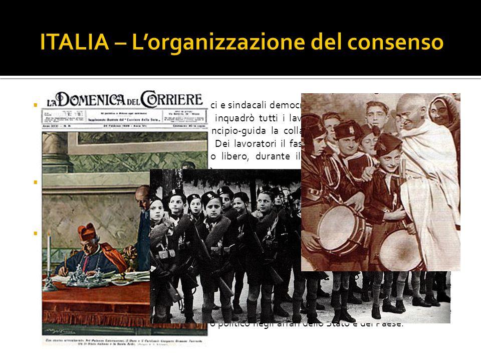 Dopo aver eliminato i dirigenti politici e sindacali democratici, Mussolini cercò il consenso delle masse e per fare questo egli inquadrò tutti i lavo