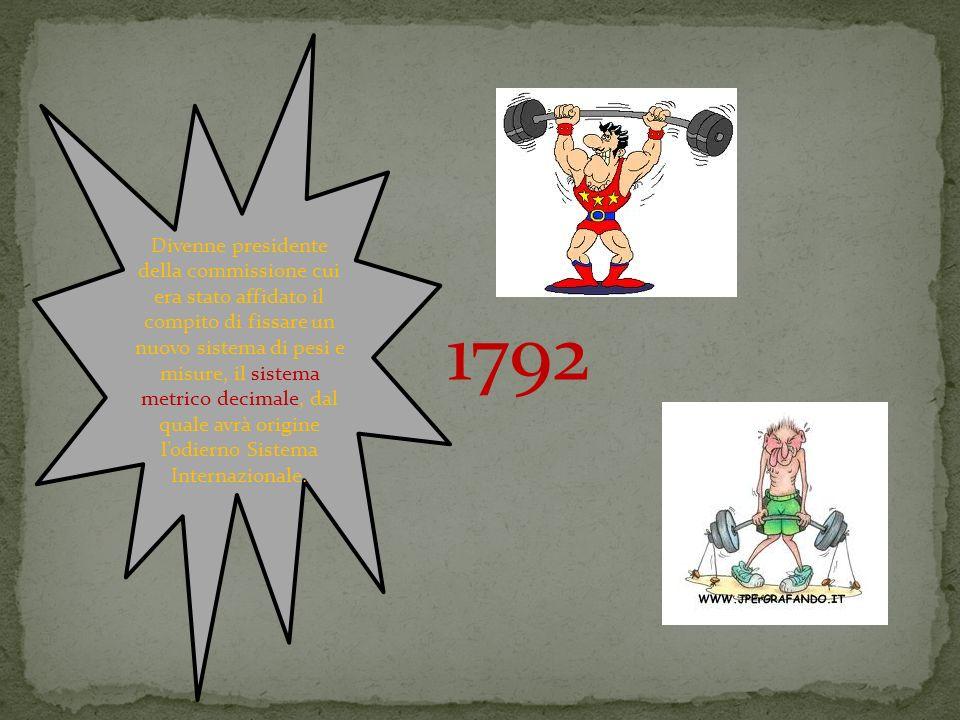 1792 Divenne presidente della commissione cui era stato affidato il compito di fissare un nuovo sistema di pesi e misure, il sistema metrico decimale,