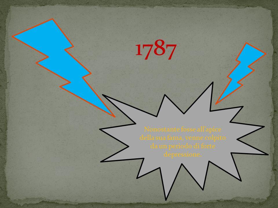 1787 Nonostante fosse allapice della sua fama, venne colpito da un periodo di forte depressione.