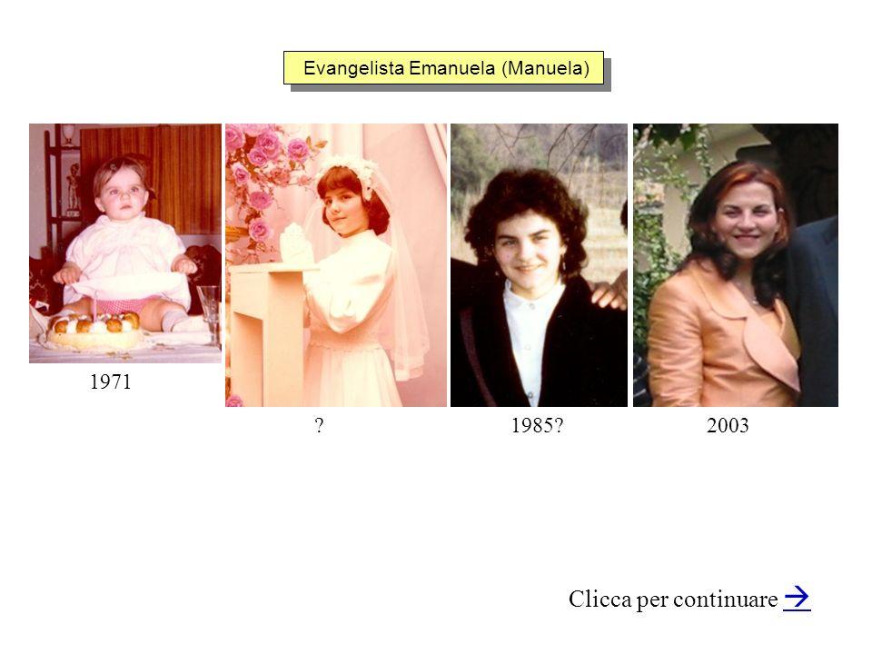 Evangelista Emanuela (Manuela) Clicca per continuare 20031985?? 1971