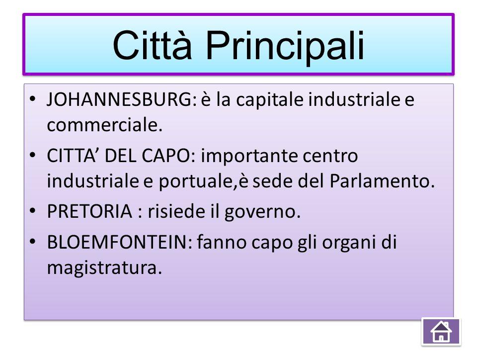 Città Principali Città Principali JOHANNESBURG: è la capitale industriale e commerciale. CITTA DEL CAPO: importante centro industriale e portuale,è se