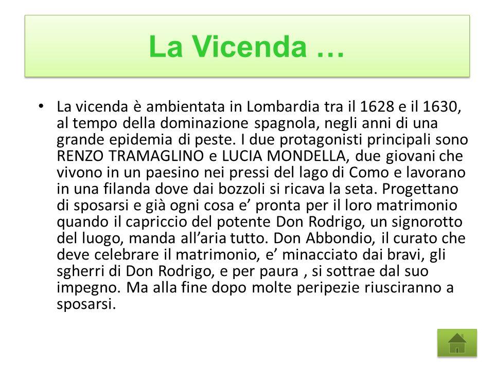 La Vicenda … La vicenda è ambientata in Lombardia tra il 1628 e il 1630, al tempo della dominazione spagnola, negli anni di una grande epidemia di peste.