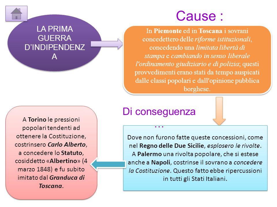 LA PRIMA GUERRA DINDIPENDENZ A In Piemonte ed in Toscana i sovrani concedettero delle riforme istituzionali, concedendo una limitata libertà di stampa