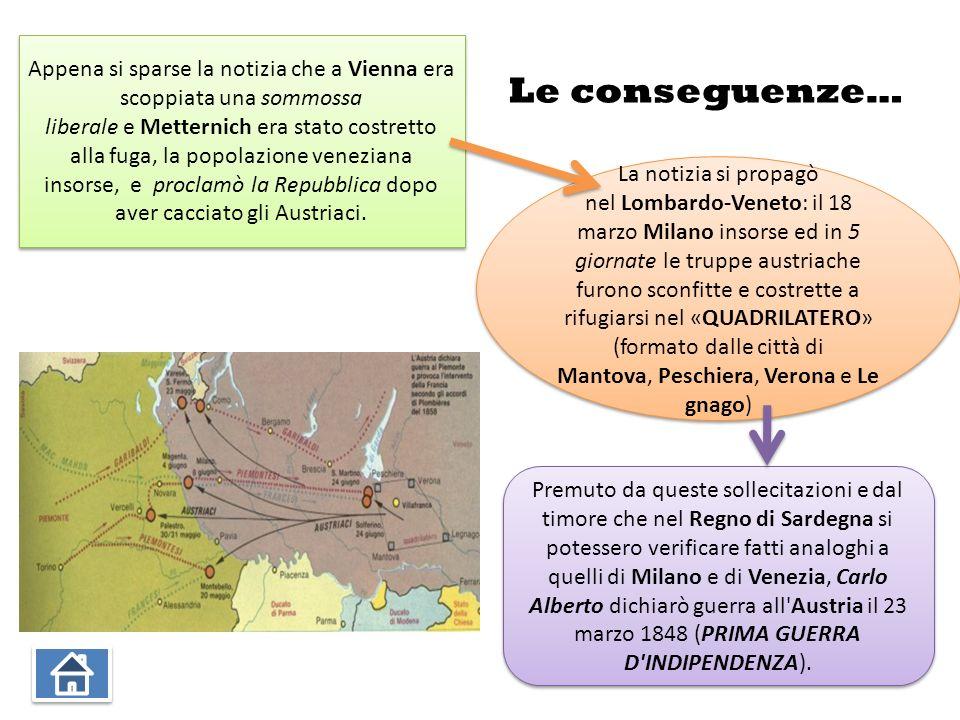 Le conseguenze… Appena si sparse la notizia che a Vienna era scoppiata una sommossa liberale e Metternich era stato costretto alla fuga, la popolazione veneziana insorse, e proclamò la Repubblica dopo aver cacciato gli Austriaci.