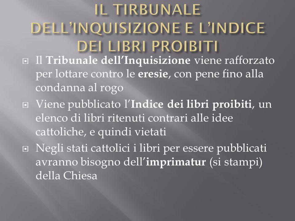 Il Tribunale dellInquisizione viene rafforzato per lottare contro le eresie, con pene fino alla condanna al rogo Viene pubblicato l Indice dei libri p