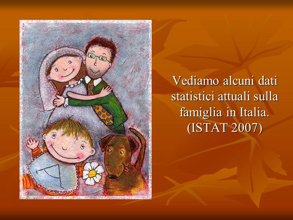 Vediamo alcuni dati statistici attuali sulla famiglia in Italia. (ISTAT 2007) Vediamo alcuni dati statistici attuali sulla famiglia in Italia. (ISTAT